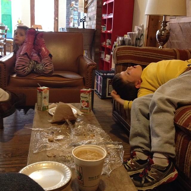 Our kids are weird. #lol #lovethemmoreeachday #themill #coffeeshopmorning #100happydays #day17