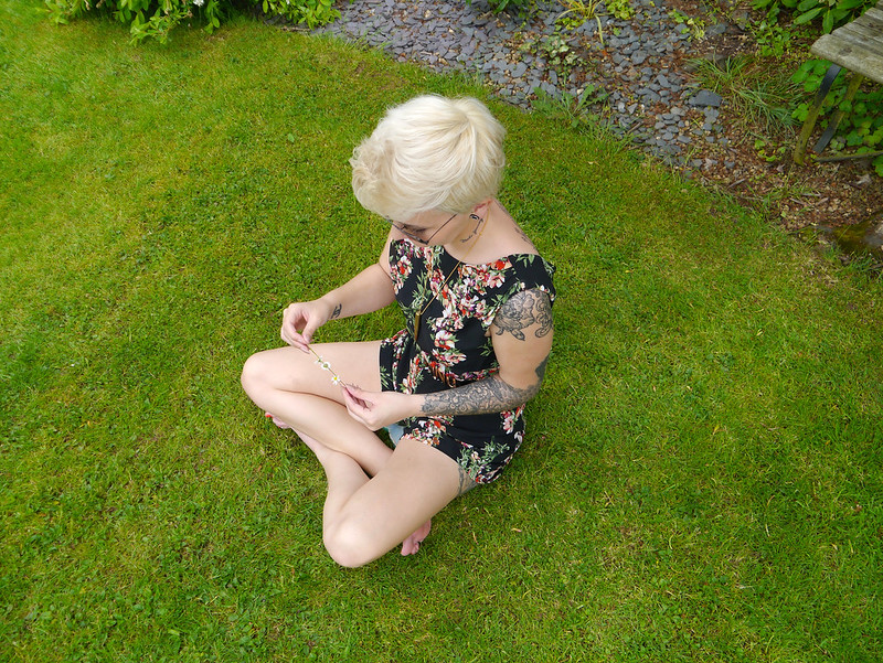 bullet necklace, floral playsuit.katethisiswhatido, skullduggeryclothing, walg, walg playsuit, fashion,pixi cut, short hair, short hair style,