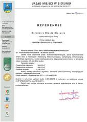 Referencje Urzędu Miejskiego w Bieruniu 2013r. (rozbudowa przedszkola)