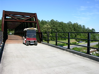 Cart on bridge over hwy 74
