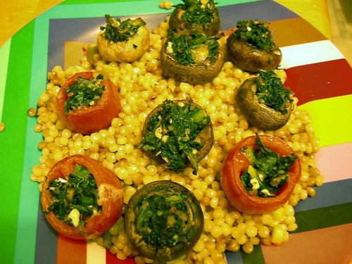 Stuffed tomatoes and mushrooms
