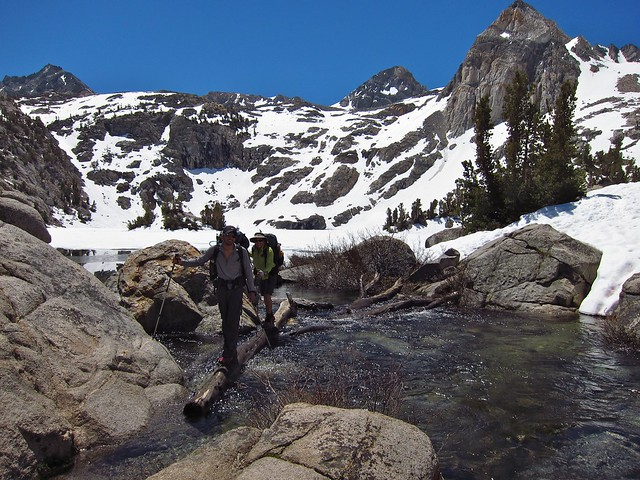 Log crossing at between Rae Lakes