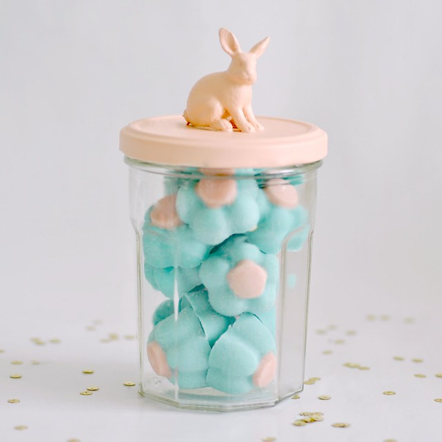 Bunny jar filled with chocolate flowers