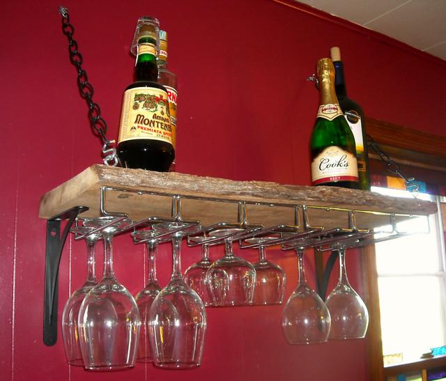 wall mounted hanging barn wood wine glass rack and shelf. Black Bedroom Furniture Sets. Home Design Ideas