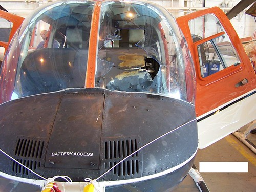 Windscreen damage to a training helicopter.