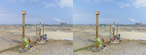 Memorials on the top of Mt. HIyori at Yuriage, for the victims of earthquake and tsunami on march 11, 2011, stereo parallel view