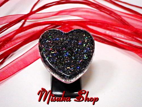 Heart Black Holograma glitter