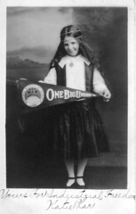Katie Phar holding One Big Union flag, c. 1915