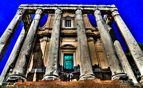 Rome Italy - Roman Temple of Antonino and Faustina Church San Lorenzo In Miranda