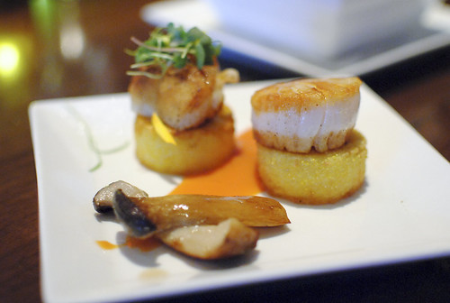 Diver Sea Scallops, Polenta Cake, Shrimp Sauce