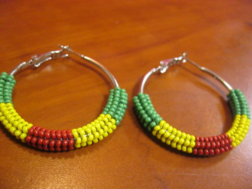Green Yellow & Red Small Hoop Earrings by MS_KIZZI