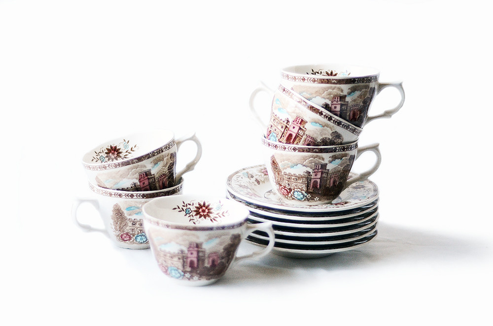 Six Vintage Manor Vista Cups and Saucers