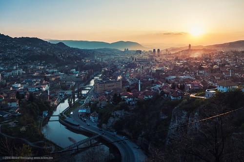 sunset river sarajevo minaret bosnia final