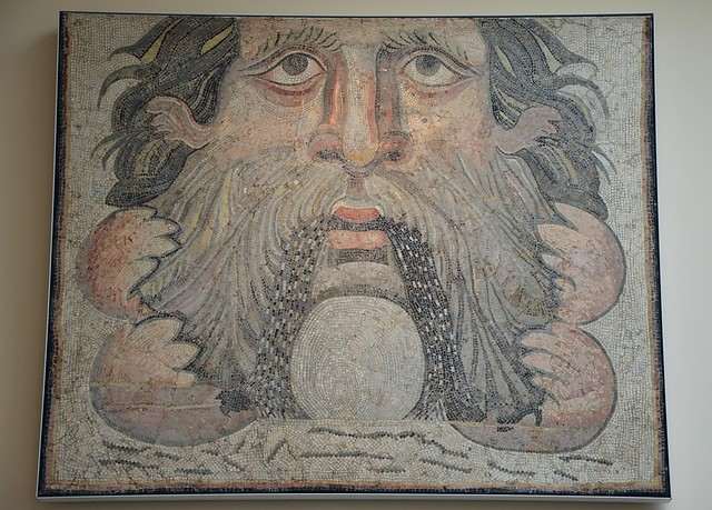 3rd century mosaic panel from a fountain basin depicting the sea-god Oceanus, from Carthage, restored in the 19th century, British Museum