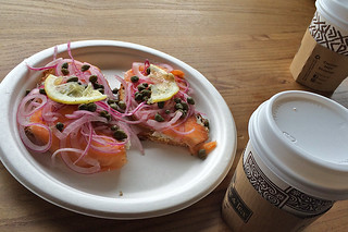 Ferry Plaza Farmers Market - Lox and Peets coffee