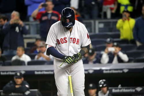 Red Sox DH David Ortiz adjusts his batting gloves during the second inning.