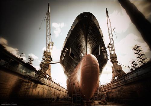 longexposure industrial ship wideangle vessel cargo cranes shipyard drydock hdr nd110 remontowa