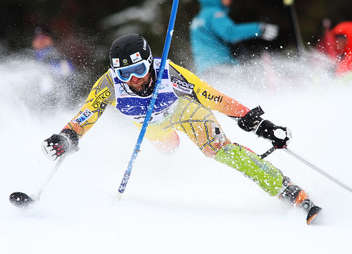 Matt Hallat in action in an IPC World Cup slalom in Panorama, B.C.