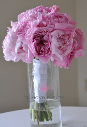 All Pink Bridal Bouquet - Peonies, Roses, Tulips