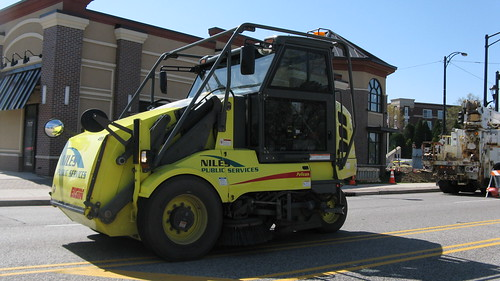 An Elgin Pelican model street sweeper vehicle from the Niles Public Services Company. Niles Illinois USA. March 2012. by Eddie from Chicago