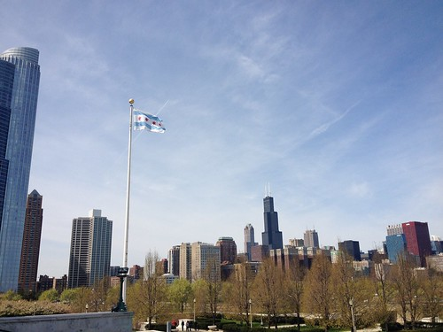 Chicago flag flying high