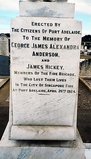"Base of grave of George James Alexander Anderson and James Hickey, firemen killed in the ""City of Singapore"" fire 26 April 1924"