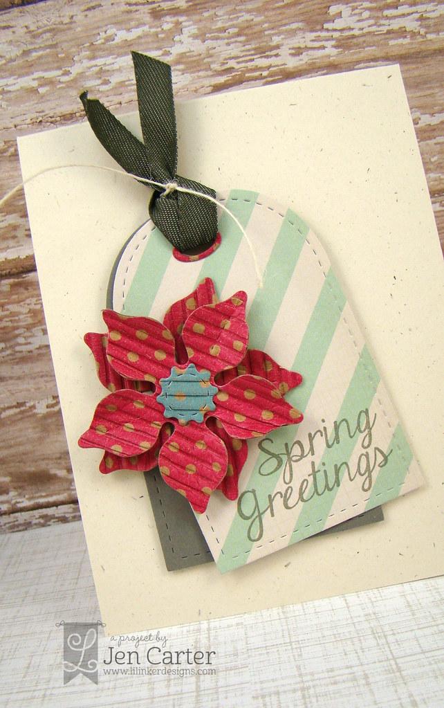 Spring Greetings Tag Card Closeup