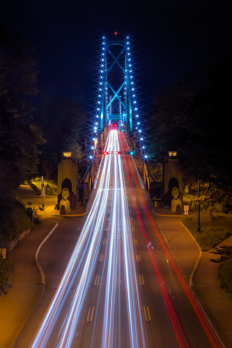road bridge blue red white canada vancouver speed lights long exposure britishcolumbia stanleypark tall colourful canon60d