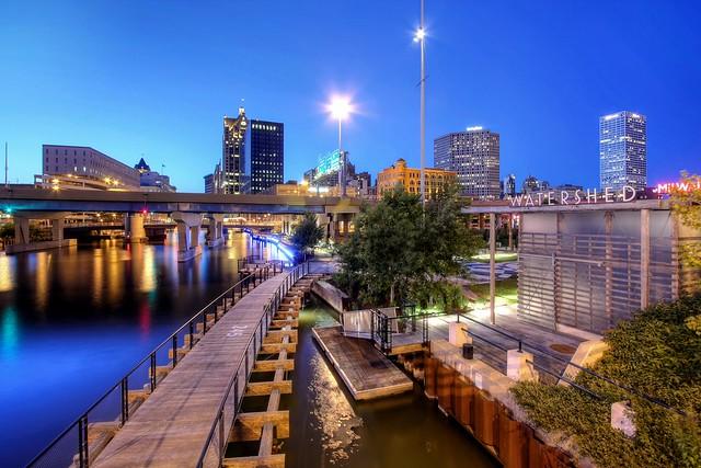 Milwaukee Riverwalk Twilight from St Paul Avenue Bridge