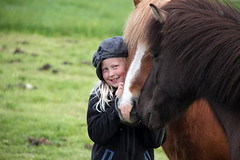 Young girl and horses IV