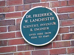 Photo of Frederick W. Lanchester green plaque