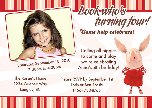 Olivia Pig Invitation http://www.flickr.com/photos/cutiepiebirthday/6898588242/