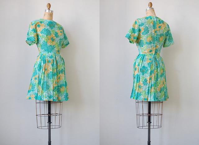 vintage 1960s floral day dress