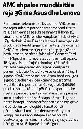 AMC shpalos mundësitë e reja 3G me Asus dhe Lenovo