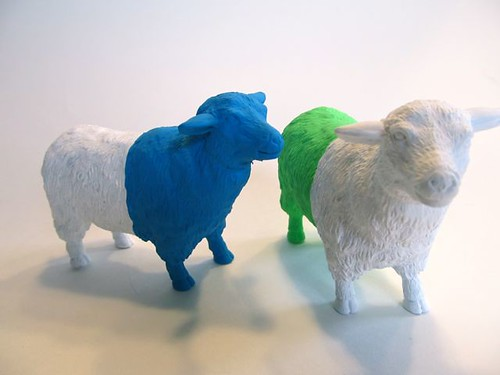 Neon dip-dyed sheep
