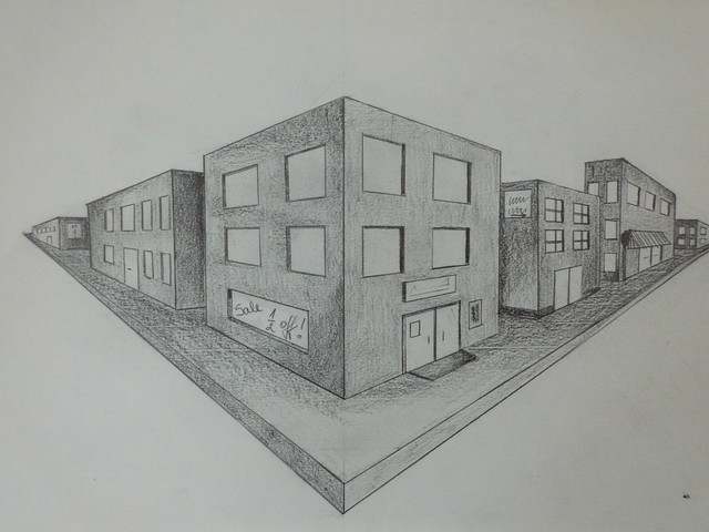 Two point perspective drawing of the city the learning for Exterior 1 point perspective