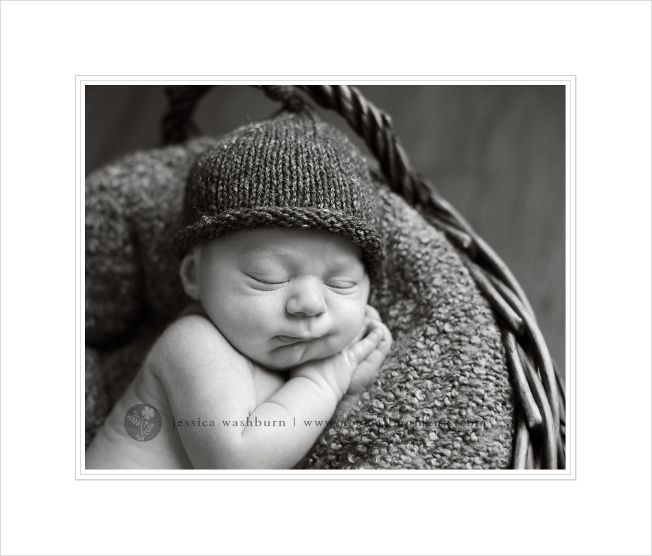 black and white newborn photography