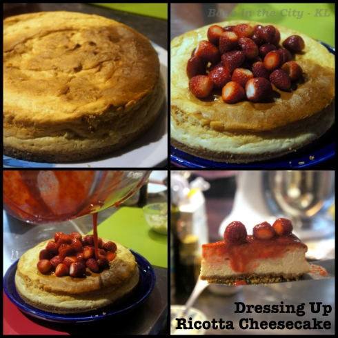ricotta cheesecake collage