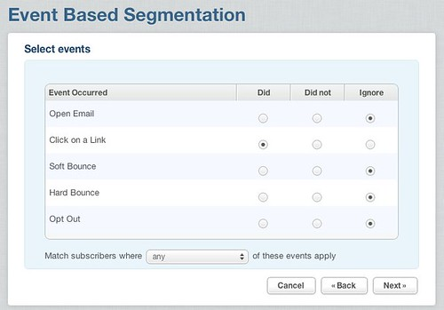 Next steps in setting up event-based segmentation.