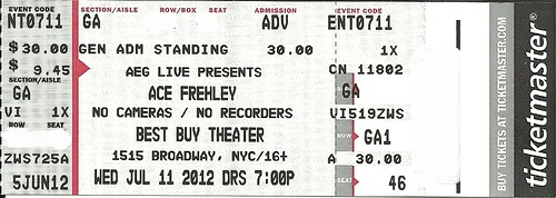 07-11-12 Ace Frehley/Cashmier @ Best Buy Theatre, NYC, NY (Ticket)