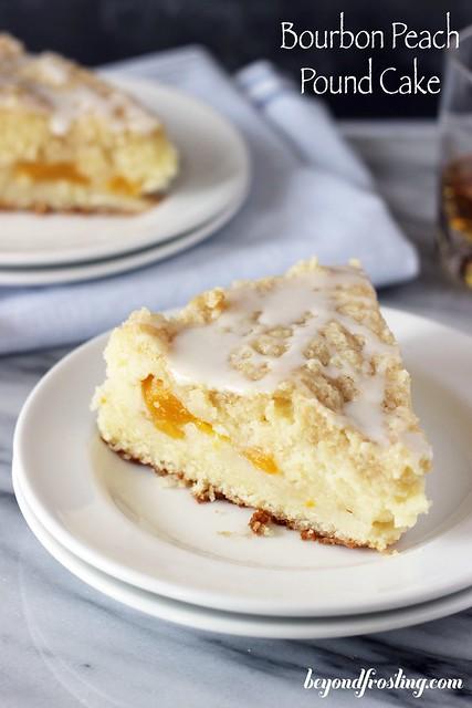 Bourbon Peach Pound Cake | beyondfrosting.com | #LuckyLeafSummer #peaches