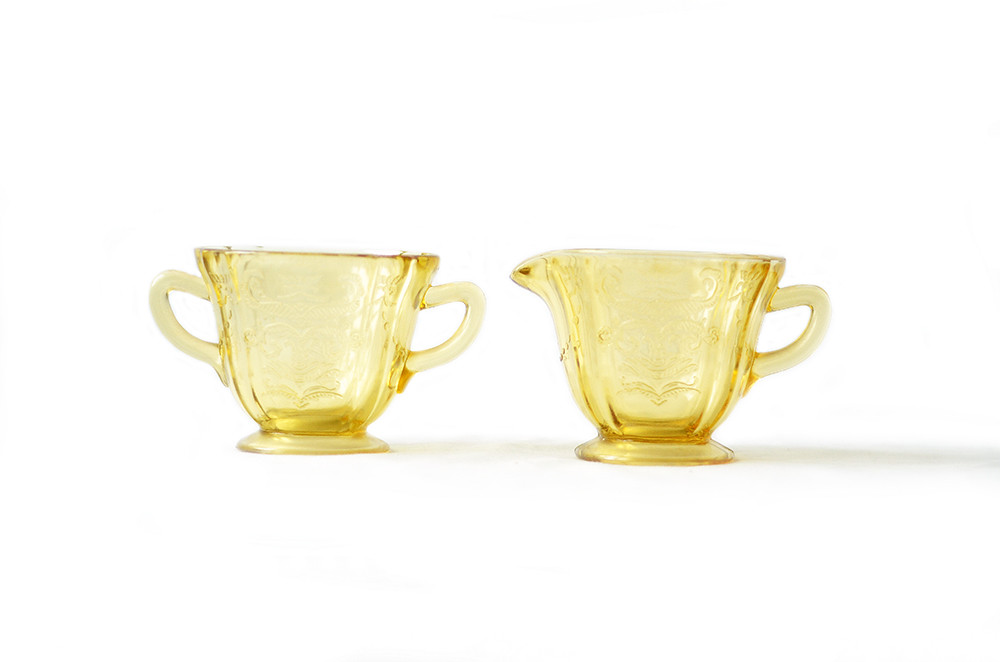 Vintage Yellow Sugar Bowl and Creamer Depression Glass in Madrid Pattern