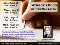 Peer Writers' Group @ Hayward Main Library - June 28, July 8 & 26, and Aug. 25, 2014