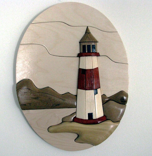 Lighthouse in Oval, Intarsia, by Del Holbrook