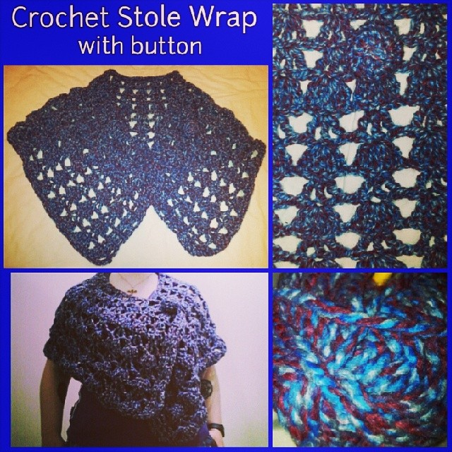 Completed 5/3/2014 -Crochet stole wrap with button in extra chunky mottled yarn. Blue, maroon, gray.  #handmade #handwork #crochetaddict #crochet #stole #wrap #cape #capelet #button #shawl #shellstitch #warm #masterofmyhobby #phoenixrosedesign #autumn
