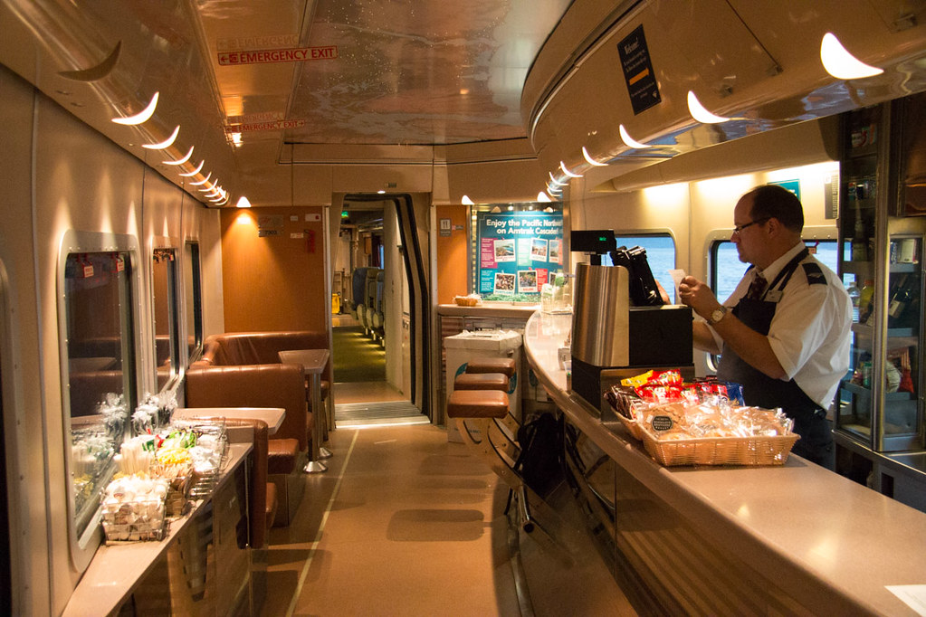 Snack bar on Amtrak Cascades line