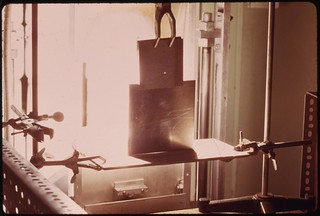 A time sequence (first of two) showing a one quarter inch aluminum plate being melted in about fifteen seconds by the focused sun's energy..., 04/1974.