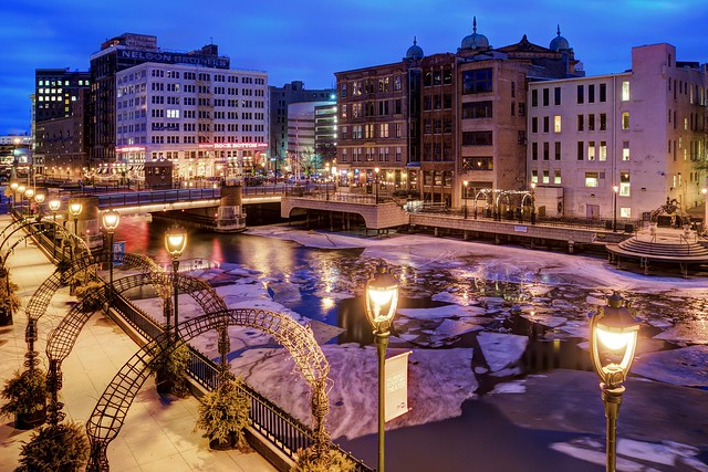 Winter along the Riverwalk by Milwaukee Center