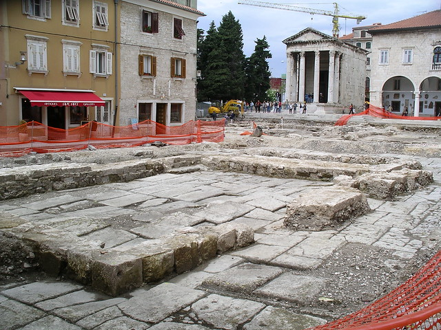 Pula's Forum during archeological excavations