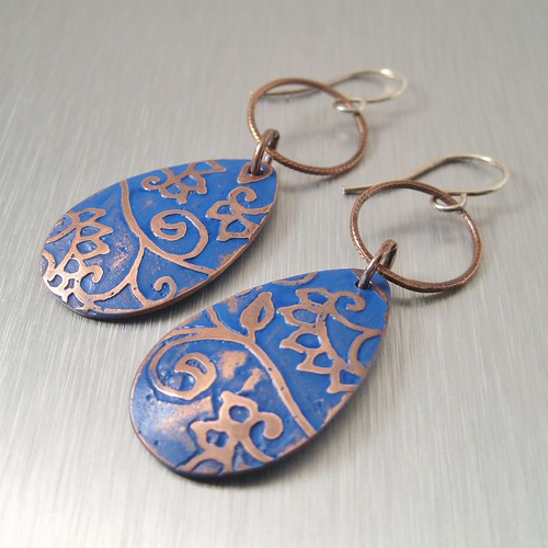 Blue Floral Copper Earrings by copperheart